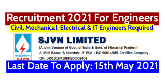 SJVN Recruitment 2021 For Engineers | Last Date To Apply: 15th May 2021