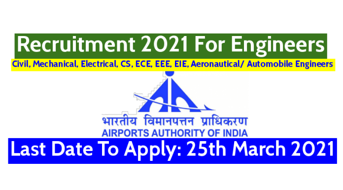 AAI Recruitment 2021 For Engineers Last Date To Apply 25th March 2021