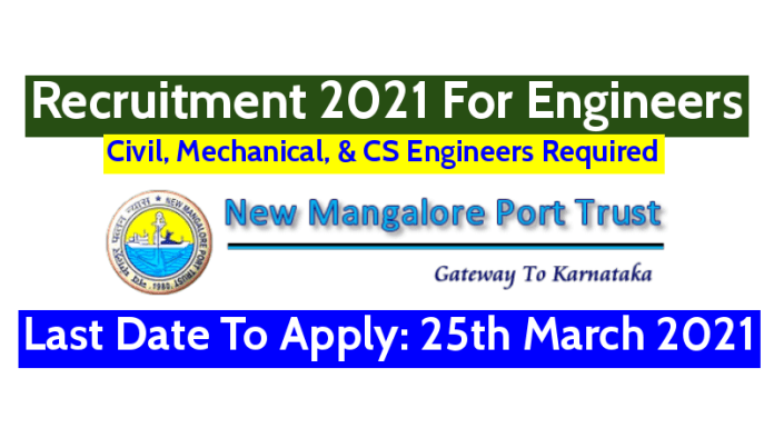 New Mangalore Port Trust Recruitment 2021 For Engineers Last Date To Apply 25th March 2021