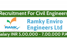 Ramky Enviro Engineers Ltd Recruitment For Civil Engineers Salary INR 5,00,000 - 7,00,000 P.A.