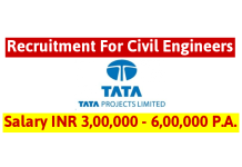 TATA Projects Ltd Recruitment For Civil Engineers Salary INR 3,00,000 - 6,00,000 P.A.