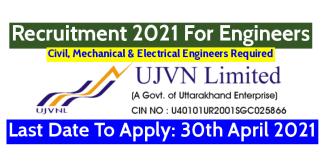 UJVNL Recruitment 2021 For Engineers Last Date To Apply 30th April 2021