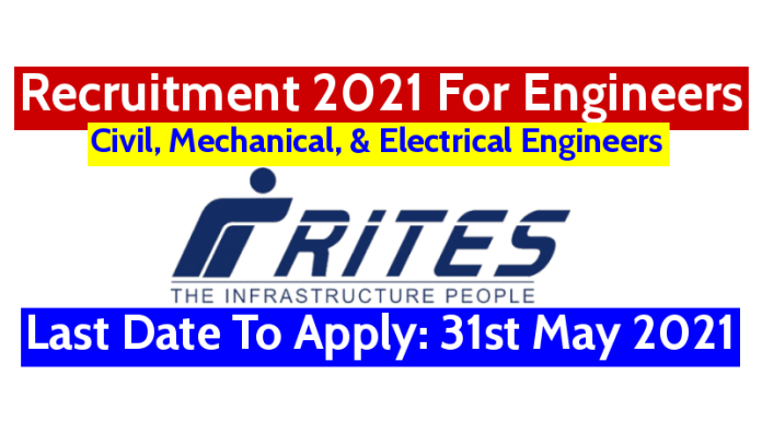 RITES Recruitment 2021 For Engineers Last Date To Apply 31st May 2021