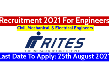 RITES Recruitment 2021 For Engineers Last Date To Apply 25th August 2021