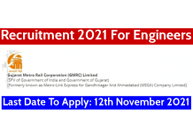 Last Date To Apply 12th November 2021