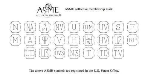 العلامات المستخدمة من قبل الجمعية الامريكية للهندسة الميكانيكية