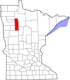 Map highlighting Clearwater County, MN