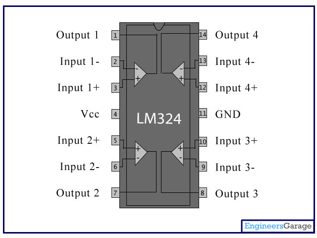 LM324 IC Pin Diagram & Description