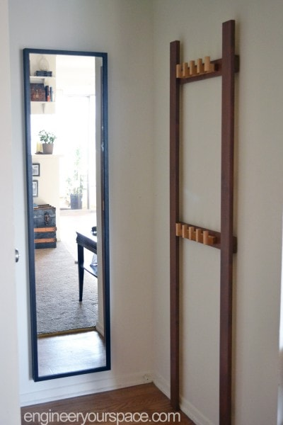Easy DIY coat rack for the tiniest entryway