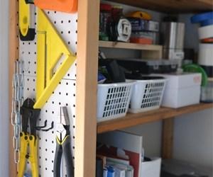 Bookcase + Pegboard = Mini-workshop