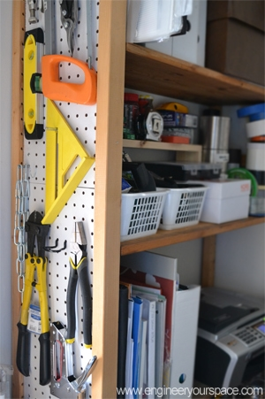 Pegboard sided bookcase