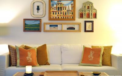 Decorating idea for a big blank wall: gallery walls