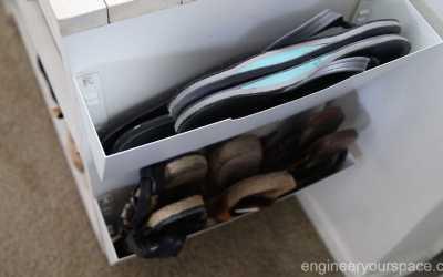 Shoe storage hack for storing sandals and flip flops