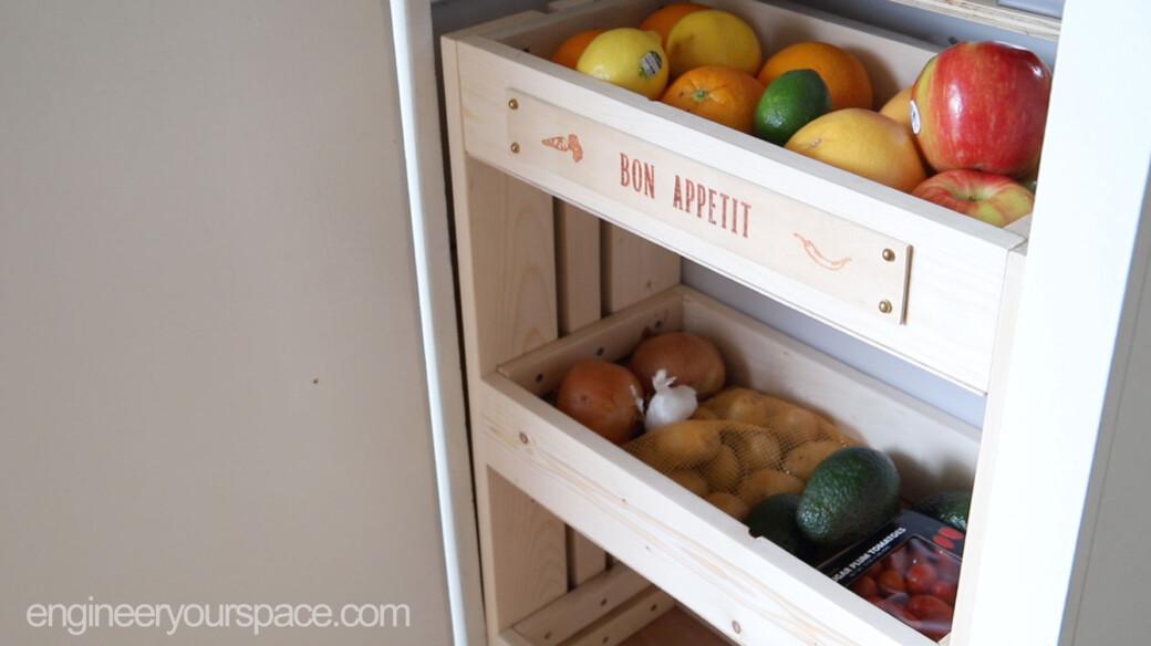 DIY kitchen storage cabinet organizer for fruits and vegetables