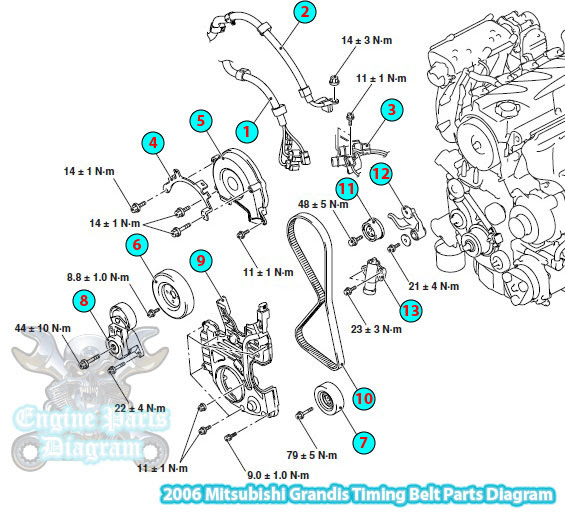 [DIAGRAM_5NL]  2006-2011 Mitsubishi Grandis Timing Belt Parts Diagram (2.4L Engine) | Mitsubishi Grandis Wiring Diagram |  | Engine Parts Diagram