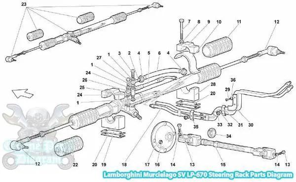 Lamborghini Murcielago Steering Rack Parts Diagram (SV LP670)