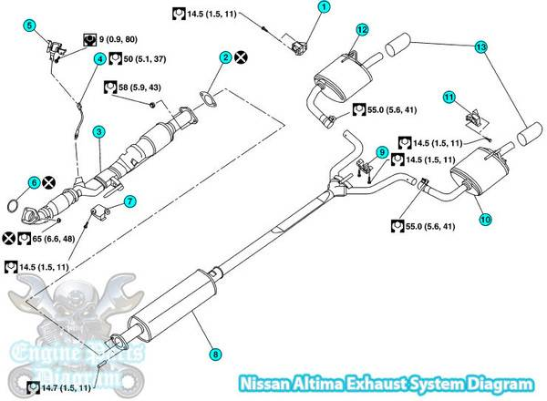 2007 2018 nissan altima exhaust system