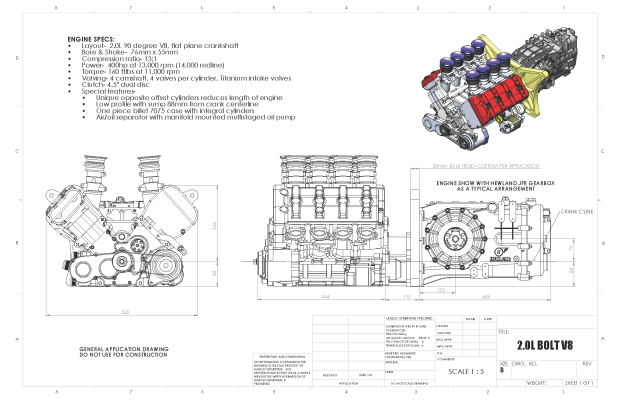 Hartley 2.0 L BOLT V8 diagram