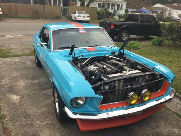 1968 Mustang with a single turbo 2JZ
