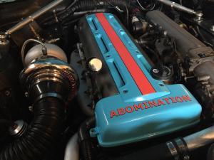 A single turbo 2JZ inside a 1968 Mustang engine bay