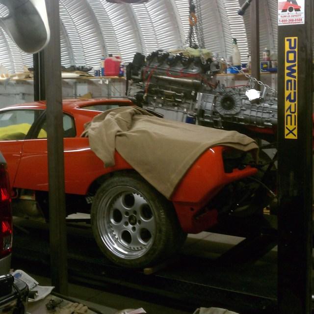 LS3 and Porsche G50 transaxle being installed into a Lamborghini Diablo
