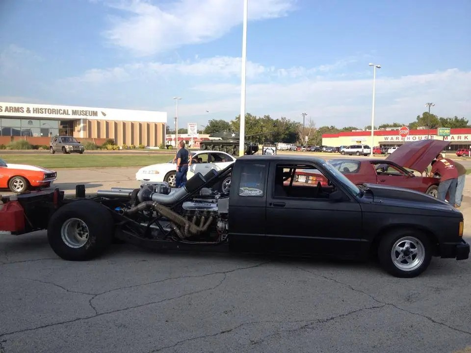 The Stretchy Truck Chevy S10 with a Mid-engine Twin-turbo BBC V8