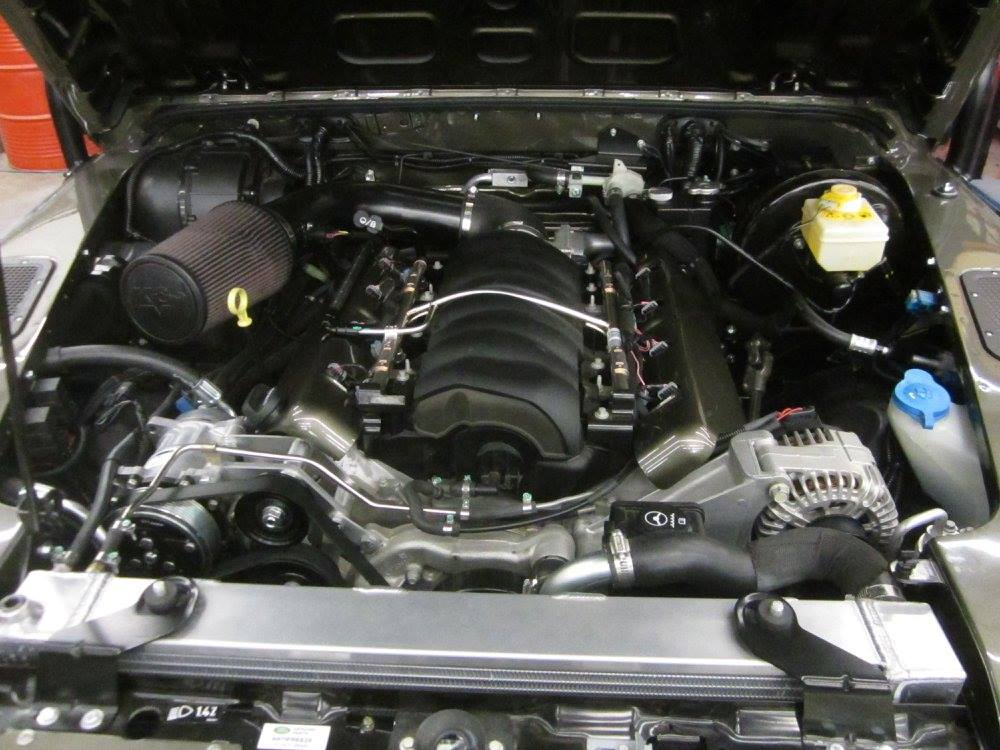 LS3 V8 inside a 1993 Land Rover NAS Defender engine bay