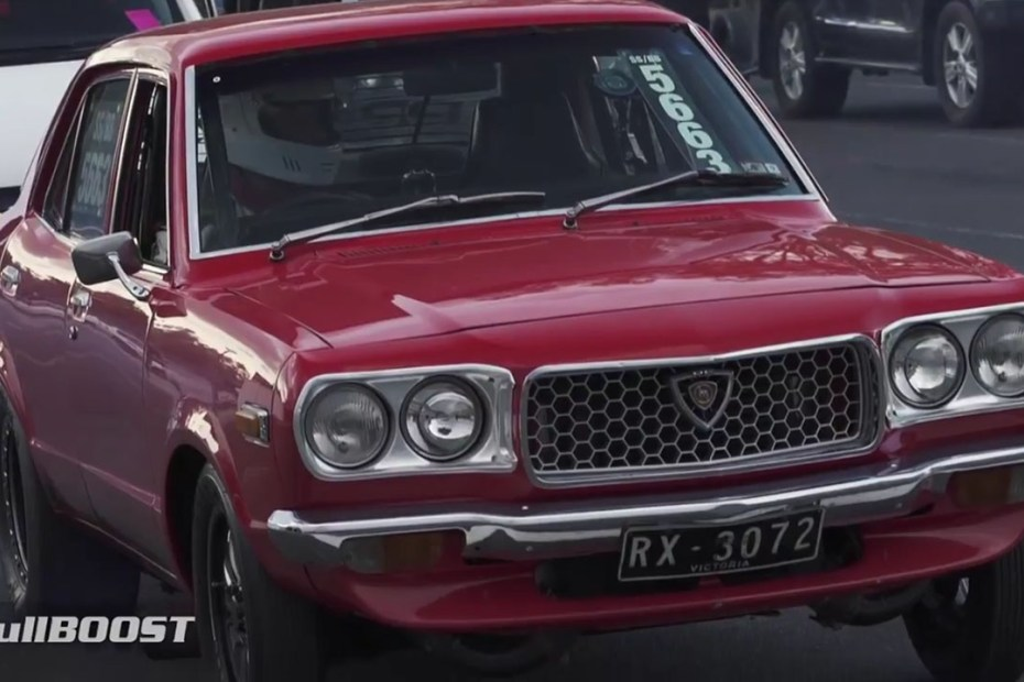 Mazda RX-3 with a 959 hp Turbo 13B