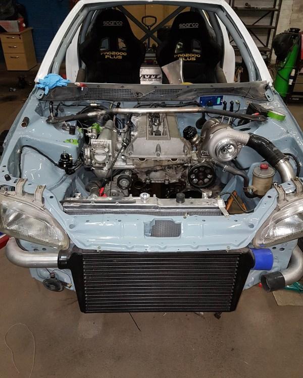 RWD Civic with a turbo Saab B204 inline-four