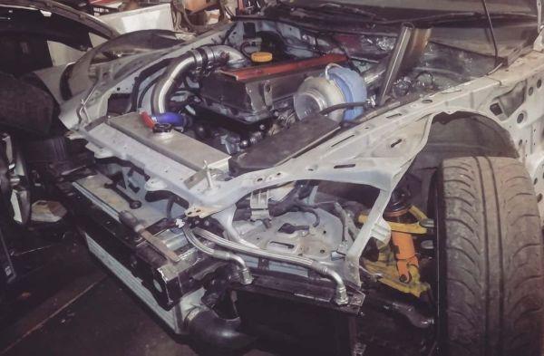 Mazda RX-8 with a turbo Saab B204 inline-four