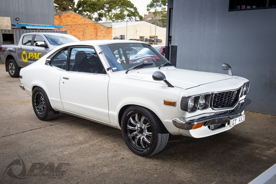 Mazda Savannah GT RX3 built by PAC Performance with a turbo 13B two-rotor