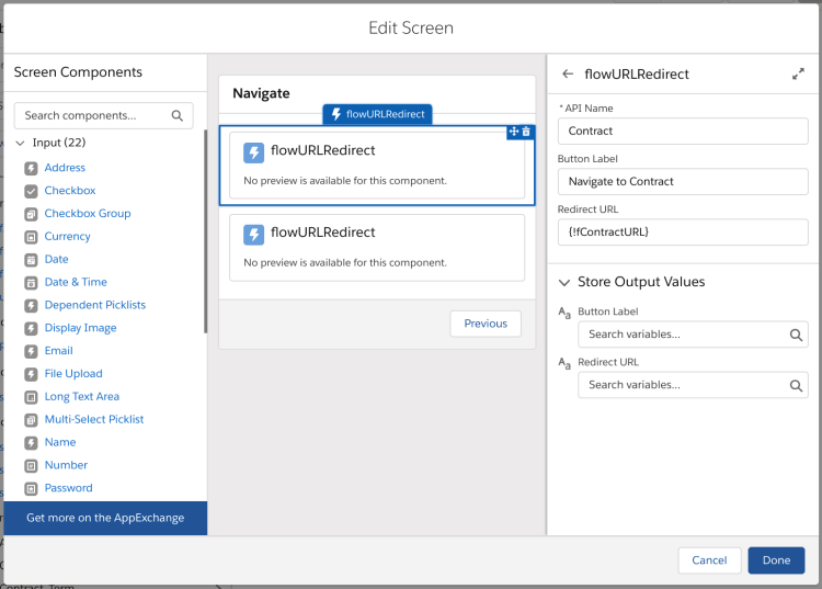 Edit Flow Screen - flowURLRedirect