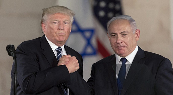 "US President Donald Trump and ""Israeli"" PM Benjamin Netnayahu"