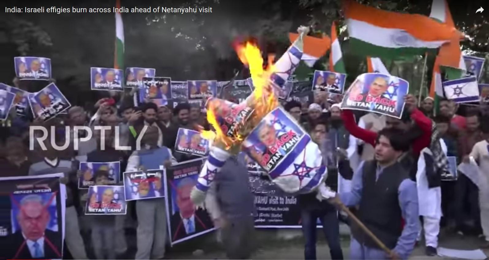 India protest Netanyahu visit