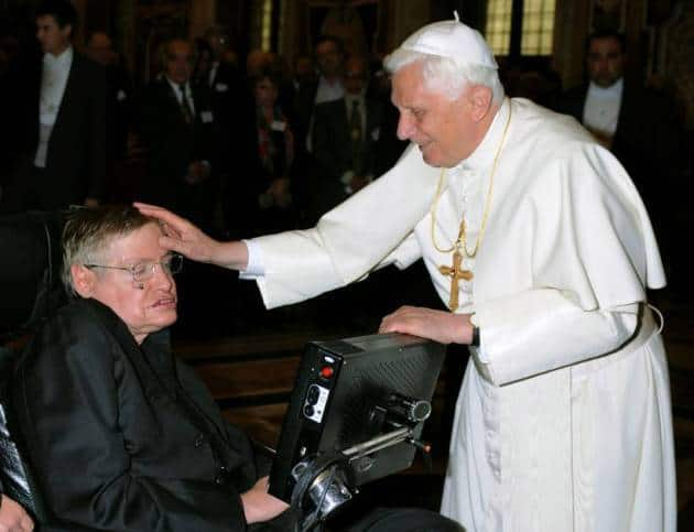 Stephen Hawking was greeted by Pope Benedict XVI during a meeting of science academics at the Vatican