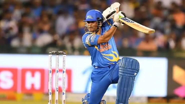 India Legends skipper Sachin Tendulkar smashes a boundary in the Road Safety World Series final against Sri Lanka Legends in Raipur. (Source: Twitter)