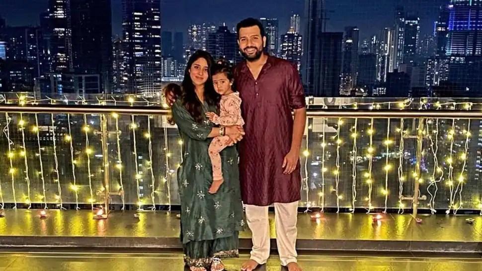 Rohit Sharma with family in his Mumbai house