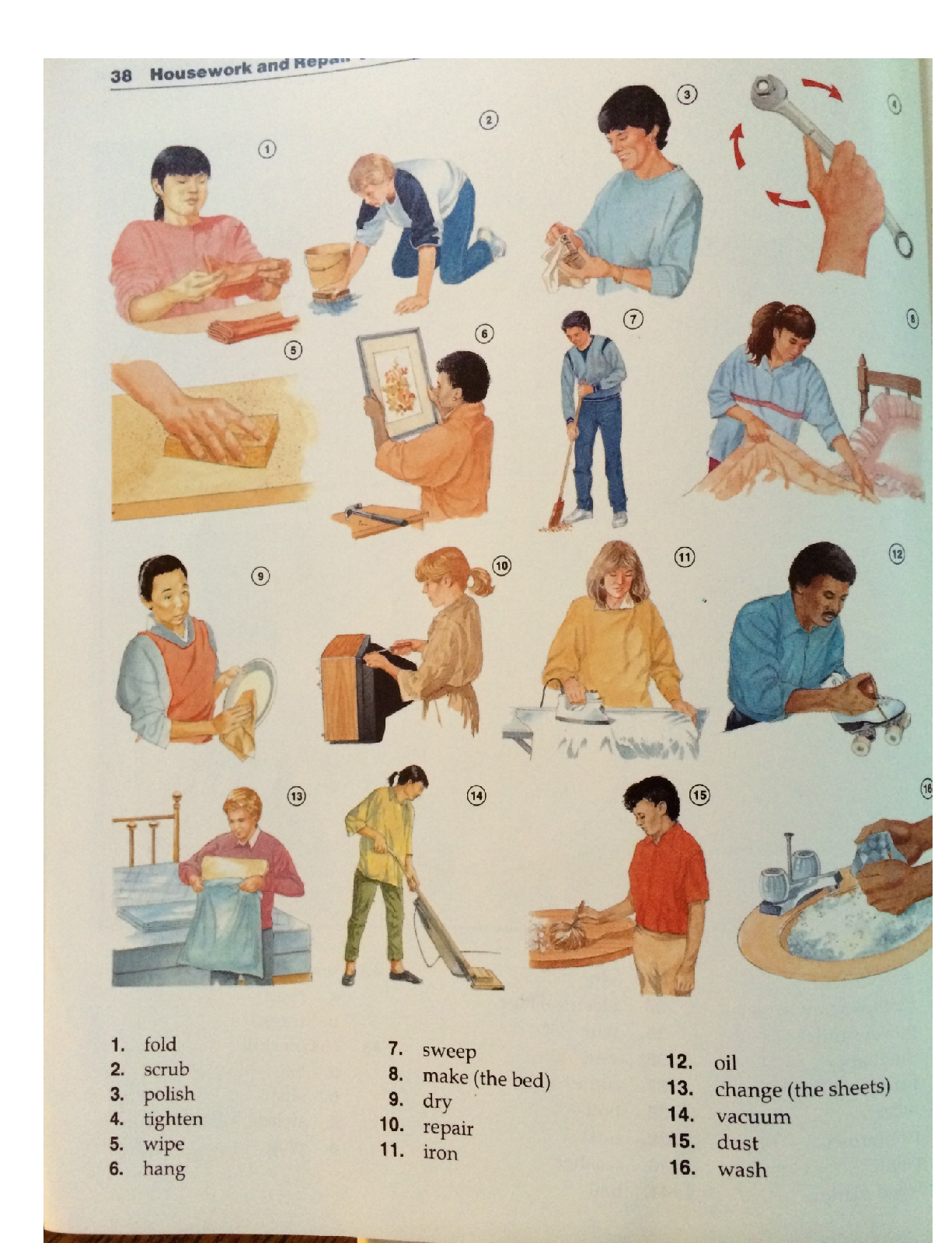 Household Chores Verbs Sentences Questions Verb Tenses