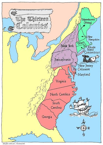 Colonies 13 Colonies Spain Map And