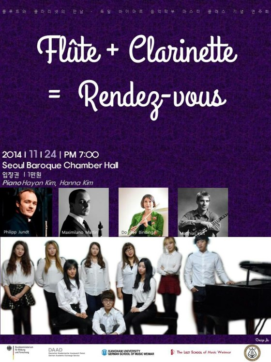 Flute + Clarinet = Rendezvous at Seoul Baroque Chamber Hall, 24 November 2014.