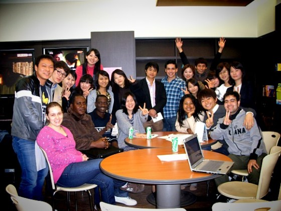 Meeting with international students in the Global Lounge.