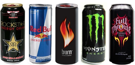 Popular energy drinks (SOURCE: medclient.com)