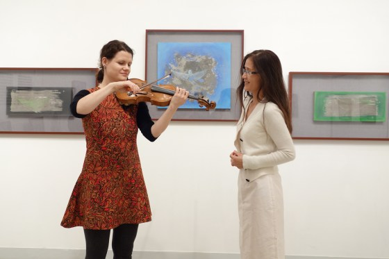 GSMW professor Viktoria Kaunzner and artist Francesca Cho perform at Gallery Art Plaza in Shinsa Dong. (Photo: Charles Ian Chun)