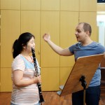 Maximiliano Martin, Principal Clarinet of the Scottish Chamber Orchestra, gives instruction to 4th-year student Cho Yoon-ji during a Masterclass for students of Professor Matthias Luft at the German School of Music Weimar, Kangnam University earlier today (PHOTO: Charles Ian Chun)
