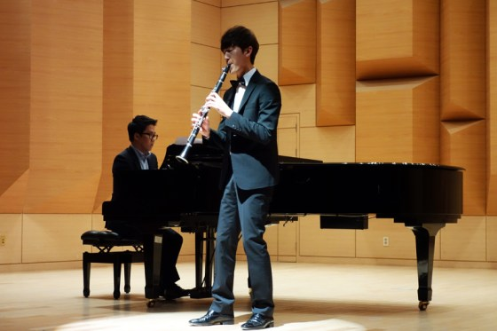 Student Won Dong-jin performs Saint-Saëns's Clarinet and Piano in E-flat major, Op.167 at the Kangnam University Department of Music 2013 Graduation Orchestral Concert, Park Chang-hee (piano), 14 Nov 2013. (Photo: Charles Ian Chun)