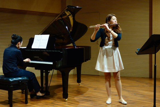 GSMW 4th-year student Jiu Hwang performs Roussel's Joueurs de Flûte (The Flute Players), 1. Pan.(Photo: Charles Ian Chun)