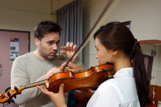 During a Masterclass for students of Prof. Viktoria Kaunzner at German School of Music Weimar, Kangnam University, violinist Philipp Mesina gives instruction to 1st year student Park Haram. (PHOTO: Charles Ian Chun)