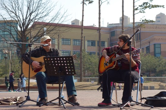 Eldin Husic and Onur Sahil of The Light perform a Yong-In Street Artists event Saturday afternoon at Gyeonggi Provincial Museum. (Photo: Charles Ian Chun)