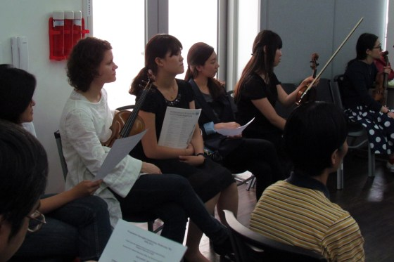 Prof. Viktoria Kaunzner and her students wait to play (PHOTO: Sarangbat)