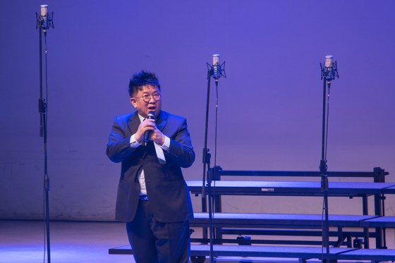 Comedian and KNU alumnus Gwang Hoe Kim entertains the crowd at Kangnam University 70th anniversary celebration. (Photo: Charles Ian Chun)